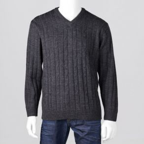 Ansett Vee Neck Cable Knit - Charcoal