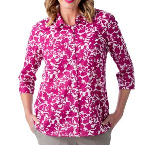 Cotton Voile 3/4 Sleeve Shirt Pink Floral