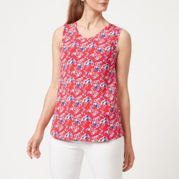 W706 RLF Bamboo Vee Tank Top - Red Floral