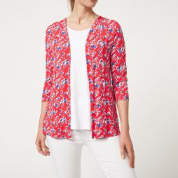 W710 RLF|Bamboo Edge to Edge cardigan - Red Floral Print