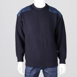 Ansett Crew Neck Shaker with Suede Patches - Navy