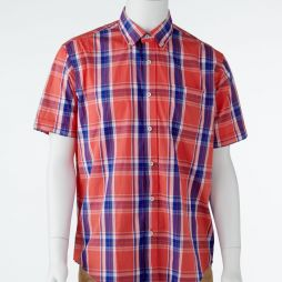 Ansett Back Bay Checked Soft Washed Shirt - Coral