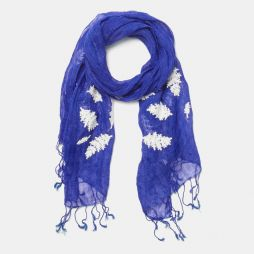 LINEN EMBROIDERED SCARF Blue