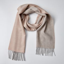 100% Lambswool Two Tone Scarf - Natural