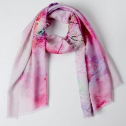 100% Wool Printed Scarf Pink Watercolor Forest