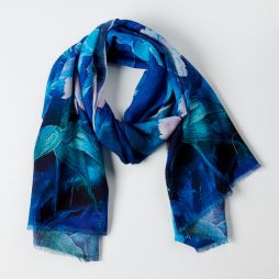 100% Wool Printed Scarf Blue Forest Flowers