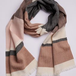 100% Lambswool Scarf - Colour Block Camel