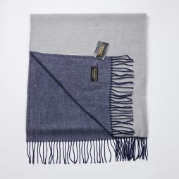Wool Cashmere Two Tone Large Scarf - Blue