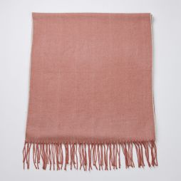 Wool Cashmere Two Tone Large Scarf - Pink