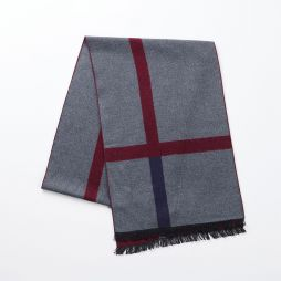 100% Brushed Silk Scarf - Red/Blue
