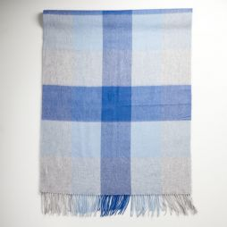 Lambswool Cashmere Shawl Blue Grey Check