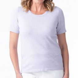 Short Sleeve Knitted Top Pale Blue