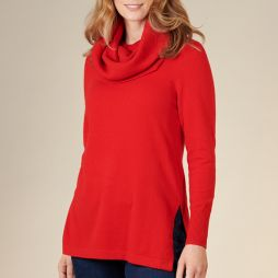 Wool Crew Neck Sweater with Snood - Red