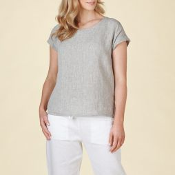 Linen Button Back Top - Oyster Grey