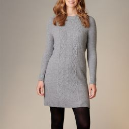 Wool Cable Detail Tunic - Grey
