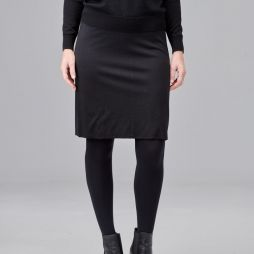 Double Layer Wool Skirt - Black