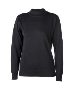 Merino Wool Classic Mock Turtle Neck Jumper Black