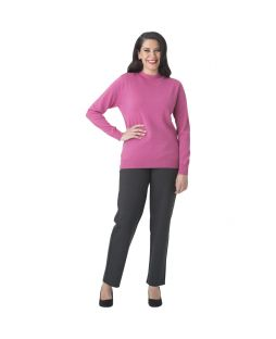 Merino Wool Classic Mock Turtle Neck Jumper Fuchsia