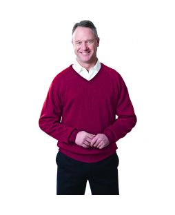 Ansett Black Merino Wool Vee Neck Red