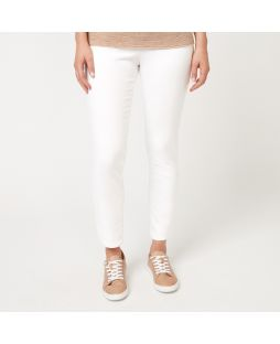 PA007 WHI|Cotton White Denim Full Length Pant