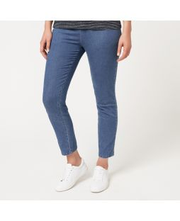 Cotton Light Blue Denim Regular Length Pant