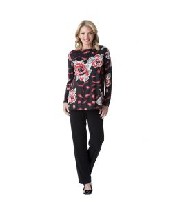 Slinky Long Sleeve Top Artisian Roses