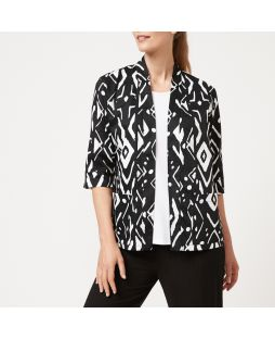 PW204 BKP|Cotton Black and White Print Kimono Jacket
