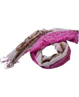 100% Wool Print Scarf Fuschia Chain