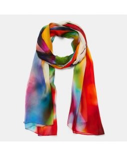 SCA76|100% SILK SCARF-BIRDS OF PARADISE