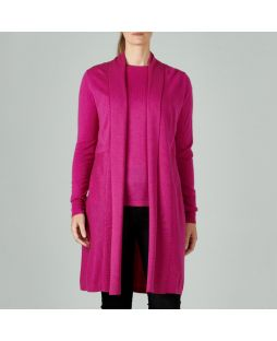 W612 FUS|Merino Edge to Edge Cardigan Fuschia