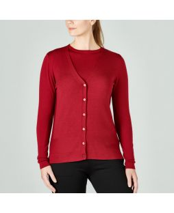 W621 RUB|Merino Jersey Vee Neck Cardigan Ruby