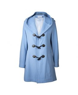 Woollen Hooded Duffle Coat Baby Blue
