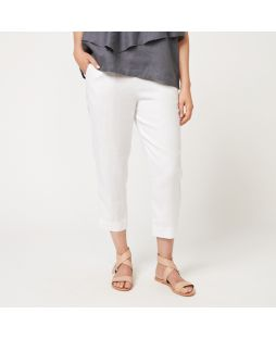 W692 WHI|100% Linen 7/8  Flat Front Pant White
