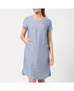 W693 DEN|Linen Short Sleeve Pocket Dress- Denim Blue