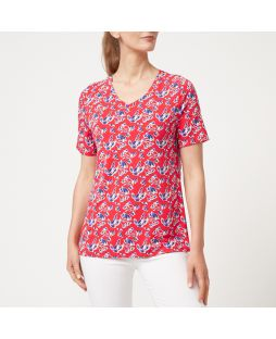W704 RLF|Bamboo V-Neck Short Sleeve T-Shirt Red Floral