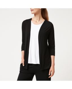 W709 BLA|Bamboo Edge to Edge Cardigan - Black
