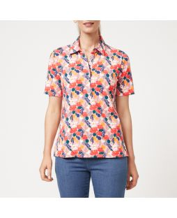 W715 FLO|Perfect Polo Top - Floral