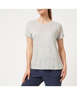 W716 GM| Linen Jersey Relaxed Tee - Grey Marle