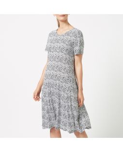 W719 B/W|Linen Blend Jersey Dress - Black / White