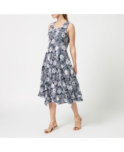 W832 NFL| Printed Linen Maxi Dress - Navy Flower