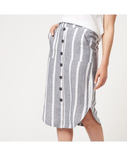 W833 STR|Linen Yarn Dyed Curved Hem Skirt - Striped