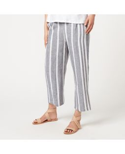 W834 STR|Linen Striped 7/8 Length Pant