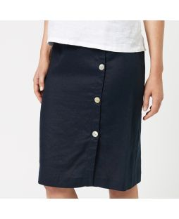 W837 NAV| Linen Buttoned Detail Skirt - Navy