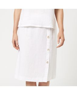 Linen Buttoned Detail Skirt - White