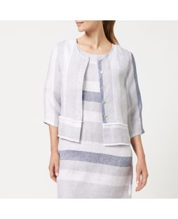 W838 STR|Yarn Dyed Linen Jacket - Striped