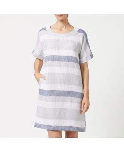 W839 STR|Yarn Dyed Linen Dress - Striped