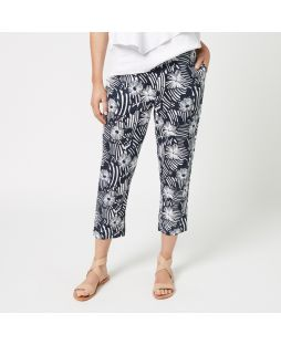 Printed Linen Pant - Navy Flower
