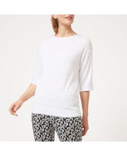 Cotton Bobble Pattern Knit Top - White