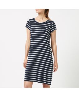 WD01 N/W| Cotton Jersey Stripe Dress - Navy/White