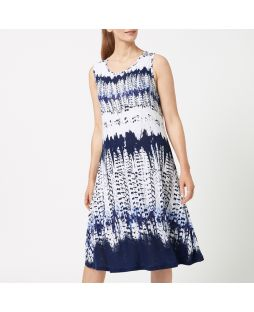 Linen Blend Jersey Tank Dress - Aztec Print